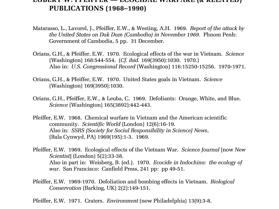 Ecocidal Warfare Publications by E.W. Pfeiffer