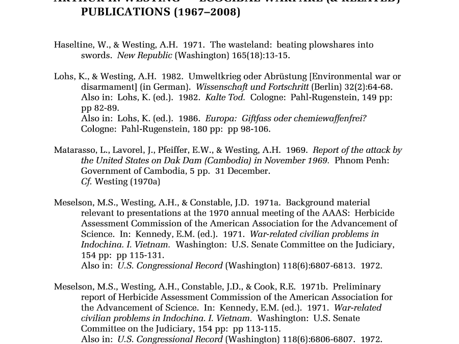 Ecocidal Warfare Publications by A.H. Westing