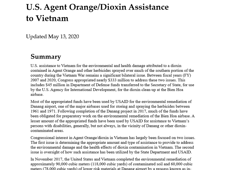 U.S. Agent Orange/Dioxin Assistance to Vietnam