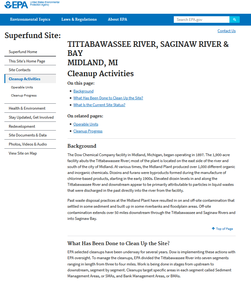 Dow Chemical Superfund Site, Midland and the Tittabawassee River, MI