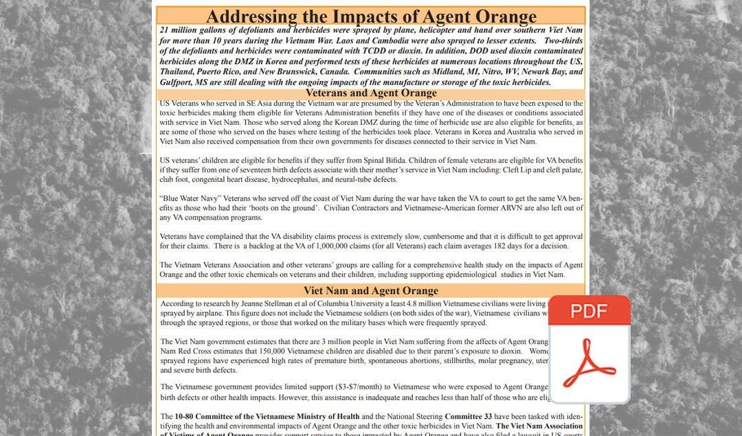 Addressing the Impacts of Agent Orange