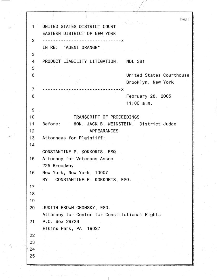 Transcript of February 28, 2005 Proceedings
