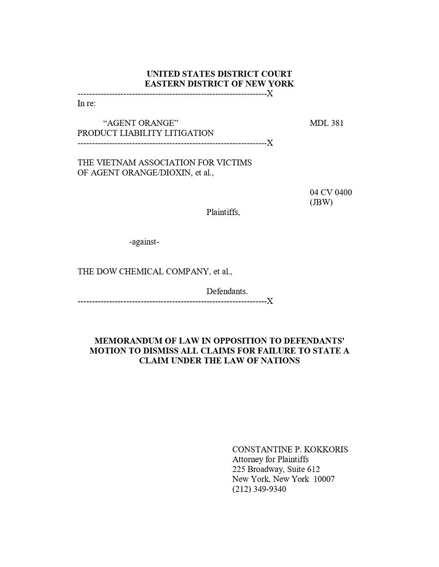 Memorandum of Law in Opposition to Defendants' Motion to Dismiss All Claims for Failure to State a Claim Under the Law of Nations