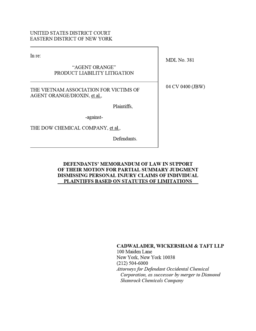 Defendants' Memorandum of Law in Support of Their Motion For Partial Summary Judgment
