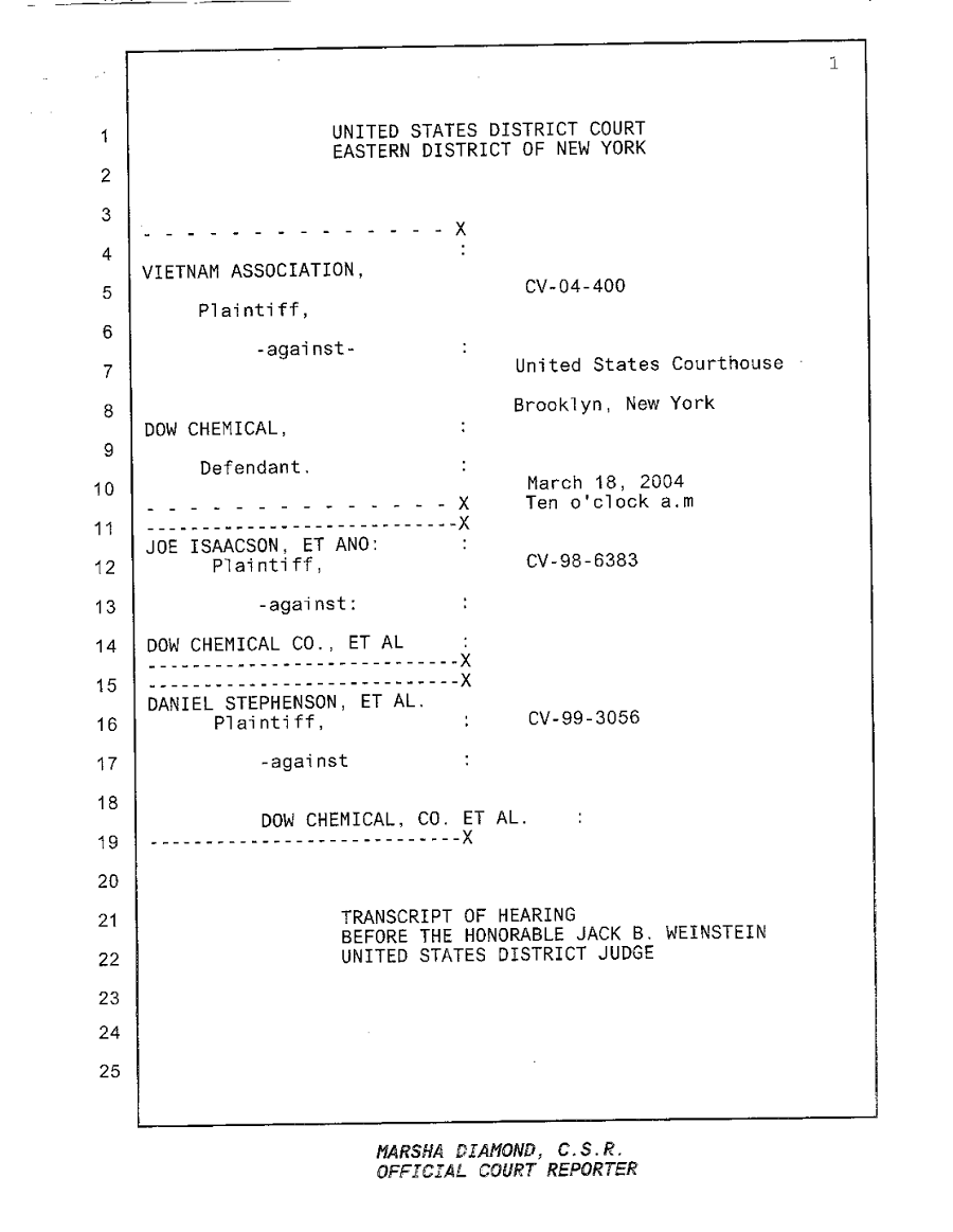 Transcript of Hearing Before the Honorable Jack B. Weinstein