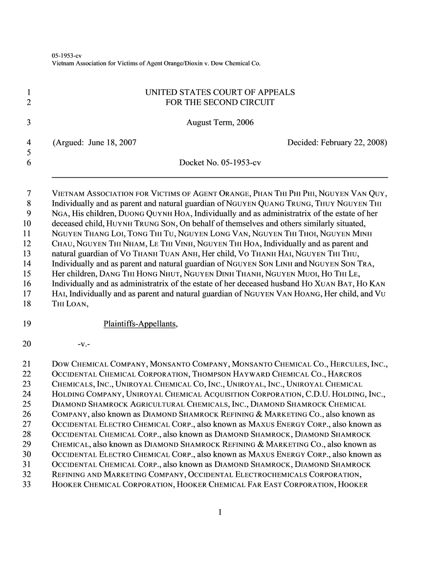 Vietnam Association for Victims of Agent Orange/Dioxin v. Dow Chemical Co., No. 05-1953 (2d Cir. 2008)