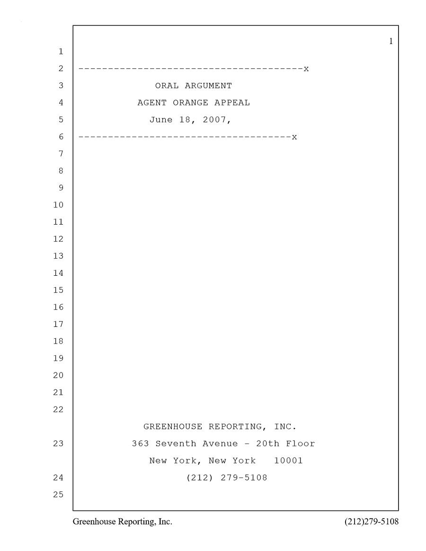 Oral Argument Agent Orange Appeal (June 18, 2007)