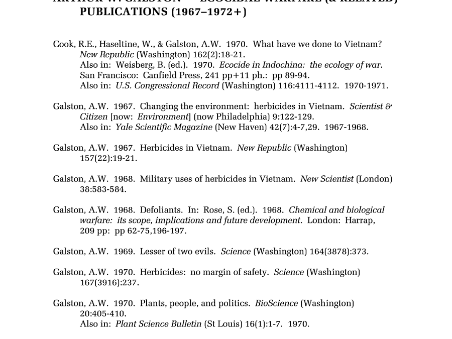 Ecocidal Warfare Publications by A.W. Galston
