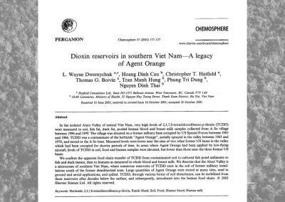 Dioxin Reservoirs in Southern Viet Nam: A Legacy of Agent Orange