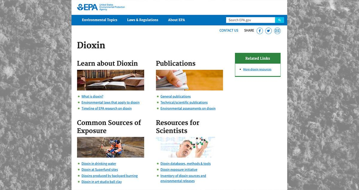 EPA Dioxin Website