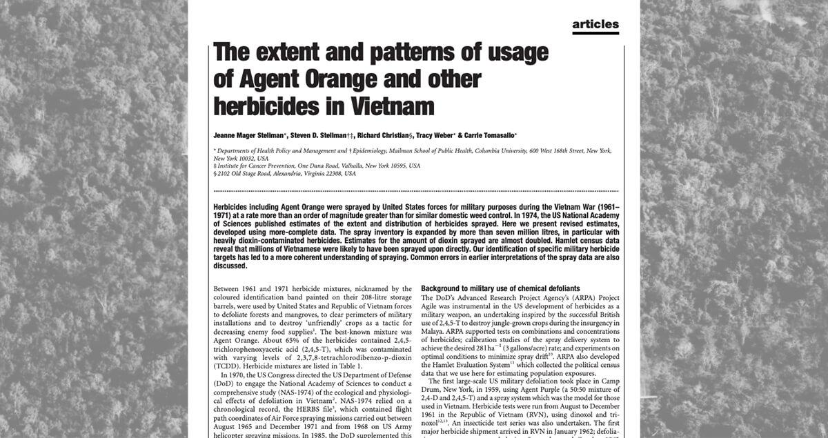 The extent and patterns of usage of Agent Orange and other herbicides in Vietnam