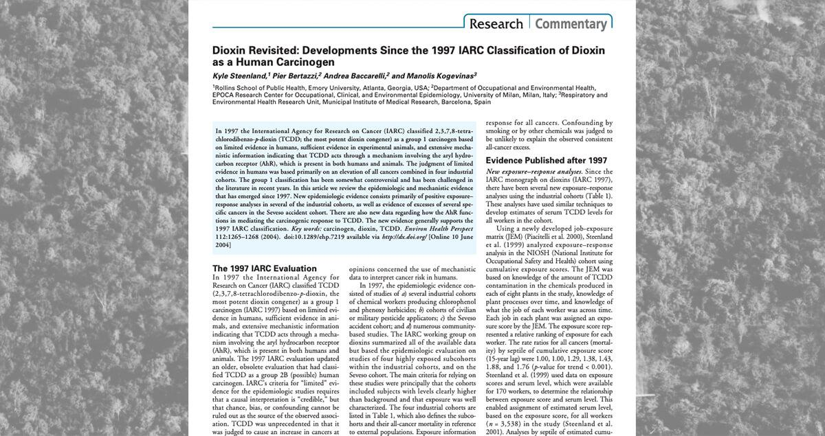 Dioxin Revisited: Developments Since the 1997 IARC Classification of Dioxin as a Human Carcinogen